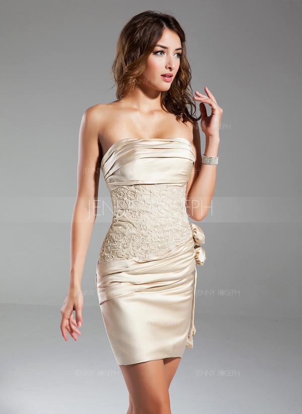 forme fourreau sans bretelle courtmini satin robe de cocktail avec pliss emperler fleur - Robe De Tmoin De Mariage Pas Cher