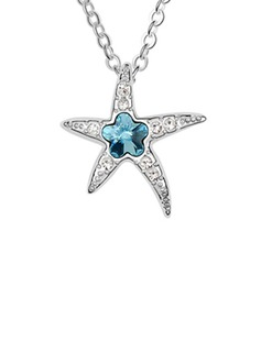 Starfish Alloy Crystal Ladies' Fashion Necklace (011036287)