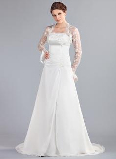 A-Linie/Princess-Linie Trägerlos Hof-schleppe Chiffon Brautkleid mit Rüschen Spitze Perlen verziert (002000042)