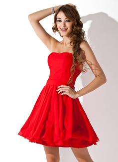 Vestidos princesa/ Formato A Coração Curto/Mini De chiffon Vestido de boas vindas com Babados em cascata (022010596)