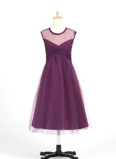 Vestidos princesa/ Formato A Comprimento médio Vestidos de Menina das Flores - Tule Sem magas Decote redondo com Pregueado (010007655)