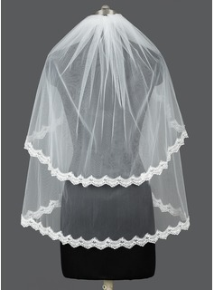 Two-tier Elbow Bridal Veils With Lace Applique Edge (006031052)