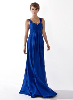 Empire-tyylinen Kultaseni Lattiaa hipova pituus Sifonki Morsiusneitojen mekko jossa Rypytys (007051835)
