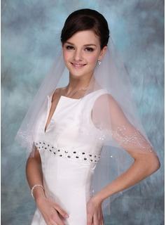 One-tier Fingertip Bridal Veils With Cut Edge (006013290)
