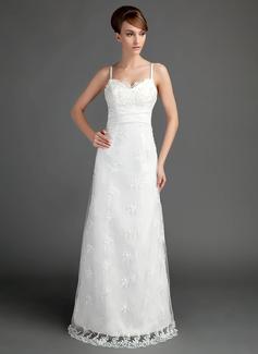 A-Linie/Princess-Linie Herzausschnitt Bodenlang Spitze Brautkleid mit Rüschen Perlen verziert (002015697)