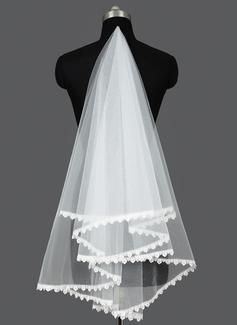 Een-rij Wals Bruids Sluiers met Lace Stoffen Rand (006031085)