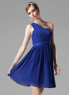 A-Line/Princess One-Shoulder Short/Mini Chiffon Bridesmaid Dress With Ruffle (007000777)