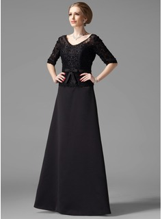A-Line/Princess V-neck Floor-Length Satin Mother of the Bride Dress With Beading Bow(s) (008002216)