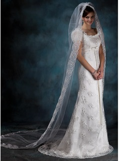 One-tier Chapel Bridal Veils With Lace Applique Edge (006020540)