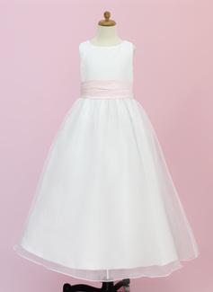 Vestidos princesa/ Formato A Longos Vestidos de Menina das Flores - Organza de/Cetim Sem magas Decote redondo com Cintos/fecho de correr (010004442)