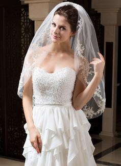 Uno capa Yema del dedo velos de novia con Corte de borde (006035768)