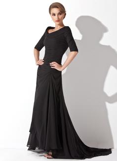 Corte A/Princesa Escote en V Asimétrico Chifón Vestido de noche con Volantes (017020812)