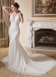 Trumpet/Mermaid Halter Chapel Train Chiffon Wedding Dress With Ruffle Beading Appliques Lace (002000043)
