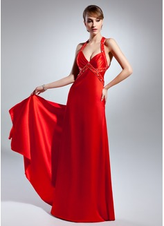 A-Line/Princess V-neck Floor-Length Charmeuse Prom Dress With Beading (018015072)