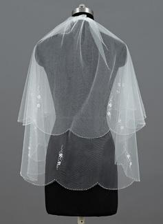 Due strati Velare da sposa gomito con Bordo ricamato (006035464)