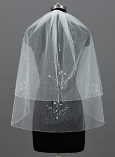 2 couches Voile de mariée longueur coude avec Bord perlé (006052963)