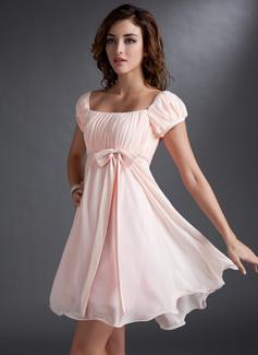 Império Decote quadrado Curto/Mini Tecido de seda Vestido de boas vindas com Pregueado Beading lantejoulas Curvado (022021033)