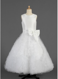 A-Line/Princess Floor-length Flower Girl Dress - Taffeta/Tulle Sleeveless Scoop Neck With Ruffles/Bow(s) (010014625)