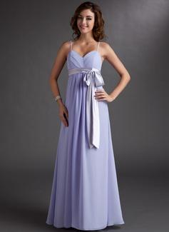 Empire Sweetheart Floor-Length Chiffon Bridesmaid Dress With Ruffle Sash Bow(s) (007000843)
