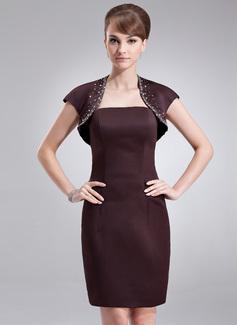 Sheath/Column Strapless Knee-Length Satin Bridesmaid Dress (007000871)
