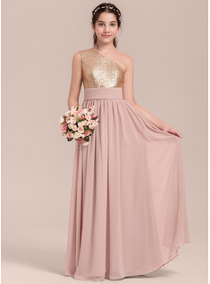A-Line/Princess Floor-length Flower Girl Dress - Chiffon/Sequined Sleeveless One-Shoulder (010144537)