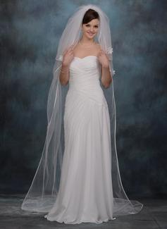 Three-tier Chapel Bridal Veils With Ribbon Edge (006005387)