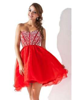 A-Line/Princess Sweetheart Short/Mini Organza Homecoming Dress With Beading Sequins (022008141)