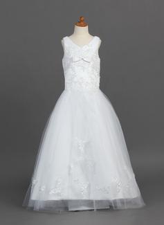 Vestidos princesa/ Formato A Longos Vestidos de Menina das Flores - Cetim/Tule Sem magas Decote V com Renda/Curvado (010007487)