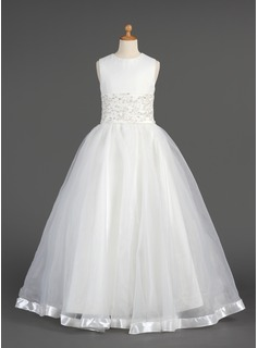 A-Line/Princess Floor-length Flower Girl Dress - Organza Sleeveless Scoop Neck With Lace/Beading (010014604)