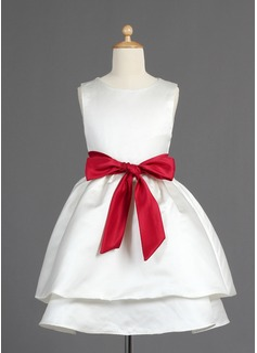 A-Line/Princess Tea-length Flower Girl Dress - Satin Sleeveless Scoop Neck With Sash/Bow(s) (010014599)