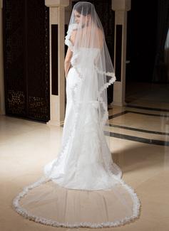 Uno capa Velos de novia capilla con Con Aplicación de encaje (006035797)