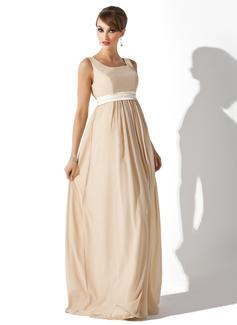 Império Decote quadrado Longos Tecido de seda Vestido para madrinha grávida com Cintos (045004409)