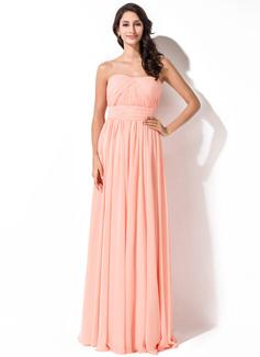 A-Line/Princess Sweetheart Floor-Length Chiffon Bridesmaid Dress With Ruffle (007055005)