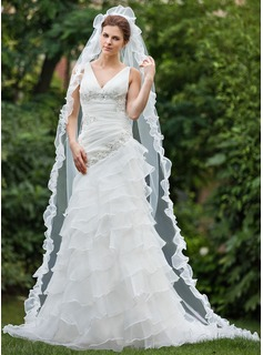 One-tier Chapel Bridal Veils With Scalloped Edge (006026635)