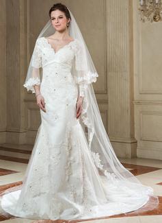 Uma camada Catedral véus de noivas com Borda com aplicação de renda (006040679)