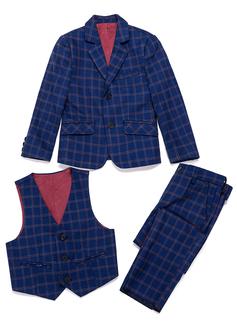 Rapazes 3 peças Xadrez Roupas de Pajem /Ternos Menino Página com Jaqueta Oeste calça (287199775)
