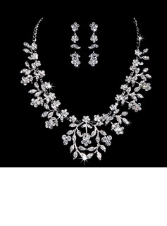 Flower Shaped Alloy/Rhinestones Women's Jewelry Sets (011028351)
