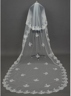 Two-tier Cathedral Bridal Veils With Lace Applique Edge (006034439)