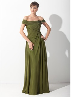 A-Line/Princess Off-the-Shoulder Sweep Train Chiffon Mother of the Bride Dress With Ruffle Flower(s) (008015153)