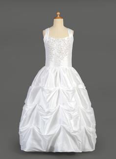 De baile Longos Vestidos de Menina das Flores - Tafetá Sem magas Decote redondo com Beading/lantejoulas/Escolher acima saia (010014648)
