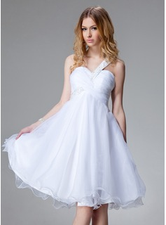 Empire One-Shoulder Knee-Length Organza Homecoming Dress With Ruffle Beading (022004493)