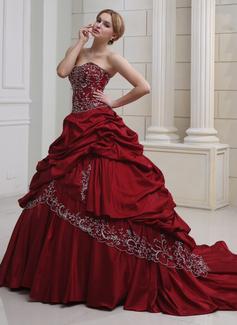 Платье для Балла В виде сердца Царский поезд Тафта Свадебные Платье с Вышито Рябь Бисер (002011490)