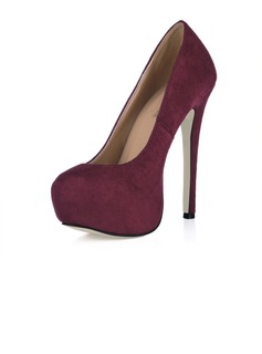 Women's Suede Stiletto Heel Pumps Platform Closed Toe shoes (085017510)