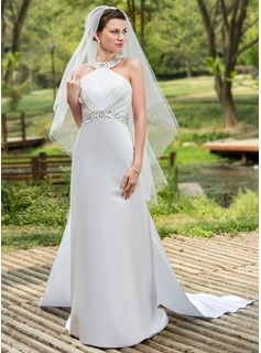 Two-tier Fingertip Bridal Veils With Cut Edge (006024433)