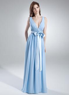A-linjainen/Prinsessa V-kaula-aukko Lattiaa hipova pituus Sifonki Morsiusneitojen mekko jossa Rypytys Satiininauhavöitä Rusetti (007000846)