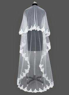 Een-rij Kapel Bruids Sluiers met Lace Stoffen Rand (006031080)