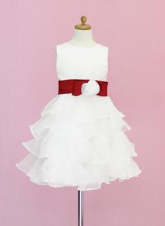 Vestidos princesa/ Formato A Coquetel Vestidos de Menina das Flores - Organza de/Cetim Sem magas Decote redondo com Cintos/fecho de correr/Curvado (010005330)
