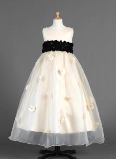 Império Longuete Vestidos de Menina das Flores - Organza de/Charmeuse Sem magas Decote redondo com Cintos/fecho de correr (010014654)