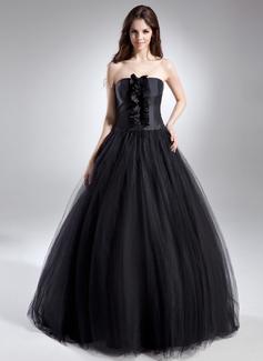 Tanssiaismekot Olkaimeton Lattiaa hipova pituus Tylli Quinceanera mekko jossa Rypytys (021015612)