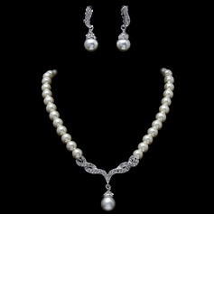 Elegant Alloy/Pearl With Rhinestone Jewelry Sets (011017283)